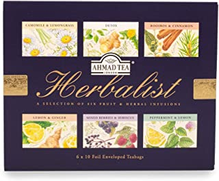 Ahmad Tea Herbalist Variety Gift Box, 60 Foil Enveloped Teabags