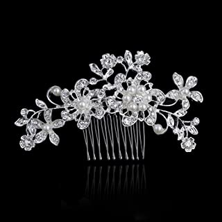 Bridal Hair Comb Pins Accessories Pearl Crystal Flower Design Hair Clip Side Comb for Bridesmaids Wedding Party Events Accessories