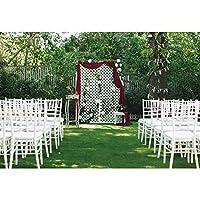 Qinunipoto 3.5x3m 背景布の写真の背景結婚式のシーンの装飾結婚式の写真花嫁の写真屋外の草白い椅子結婚式結婚記念日誕生日ビジネスイベント記者会見ライブビデオの背景