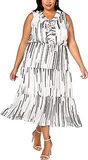 Taylor Dresses Women's Plus Size Sleeveless Broken Stripe Print Chiffon Midi Dress