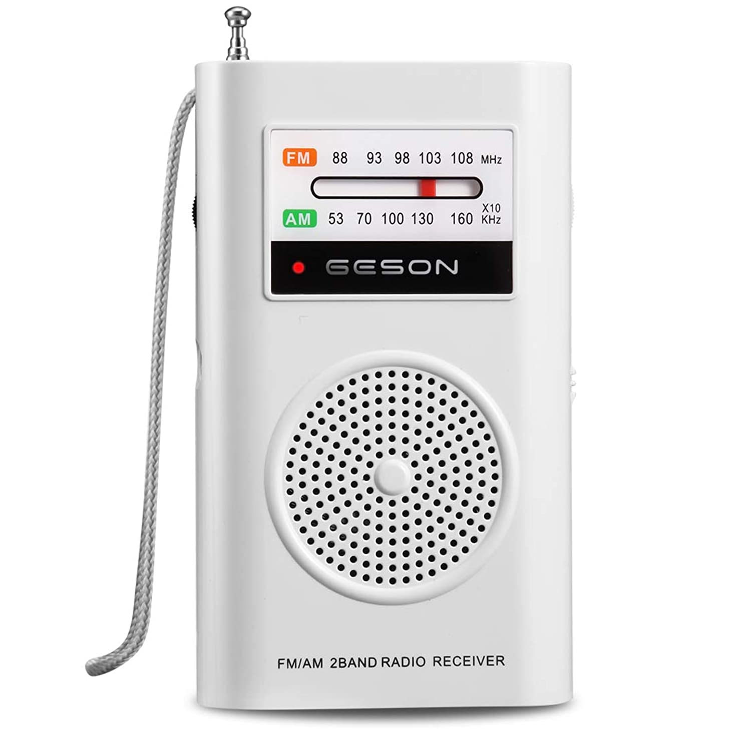Portable Pocket Radio AM/FM,Best Reception,Transistor Radios Player Operated by 2 AA Battery,Built-in Speaker and 3.5mm Headphone Jack(White)