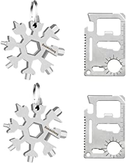 [4 Pack]18-in-1 Snowflake Multi Tool and Credit Card Wallet Multitools -Survival kit Keychain Bottle Opener/Flat Phillips ...