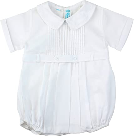1ffe67fbaea2 Feltman Brothers Baby Boys White Christening Baptism Bubble Outfit with  Collar