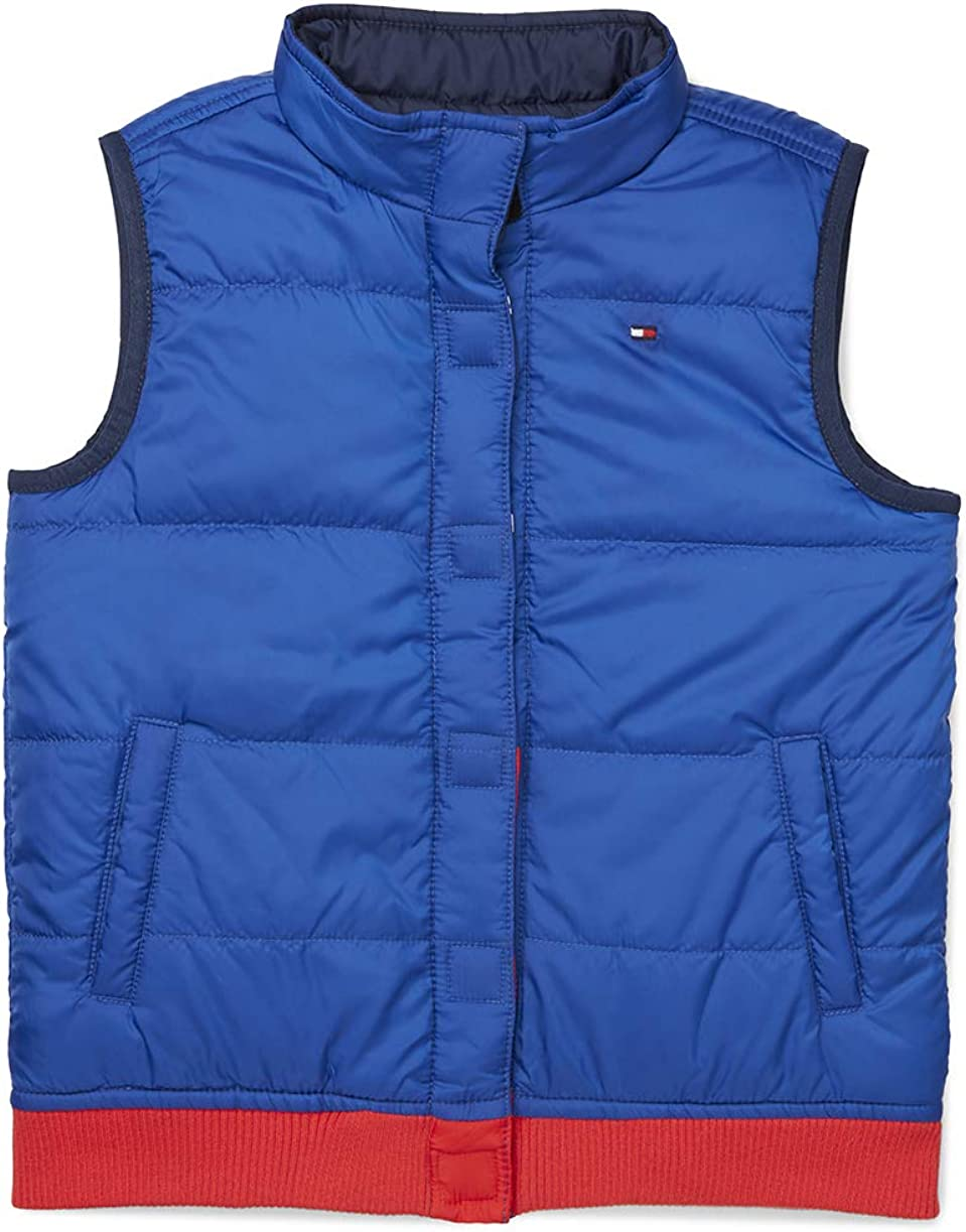 Tommy Hilfiger boys Adaptive Reversible Puffer Vest With Magnetic Buttons