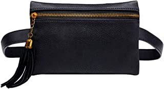 Rebecca Women Girls PU Leather Fanny Pack Casual Waist Bag Tassels Cell Phone Pocket with Removable Belt (Black)