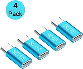 Skyee [4 Unidades Adaptador USB C a Micro USB con OTG, Aleación de Aluminio Conectores USB Tipo C Compatible with Samsung Galaxy S9/S8, MacBook Pro 2017 y Más Tipo C USB Dispositivos - Azul