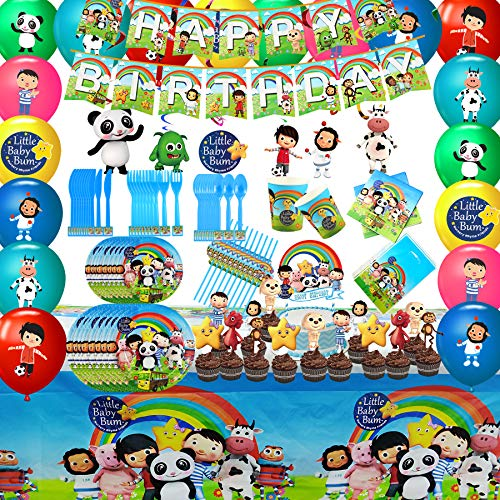 151PCS Little Baby Bum Party Favor Party Decorations Baby Bum Birthday Party Supplies, Flatware, Spoons, Fork, Knife, Plates, Cups, Table Covers, Banner, Napkins, Cake Toppers, Balloons, Tablecloth Birthday Party Favor Pack Set for Kids Boy and Girls