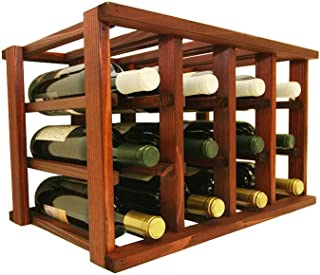 Mini Stack Individual Wine Rack for 12 Wine Bottles - Fully Assembled - Classic Mahogany Stain