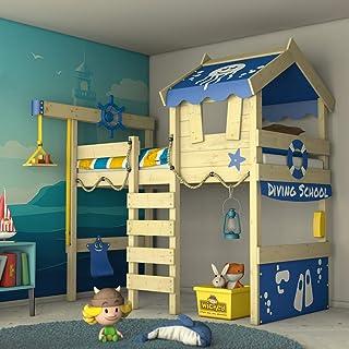 WICKEY Lit enfant 'CrAzY Jelly' - Lit mezzanine - Lit cabane avec sommier à lattes - 90x200 cm