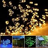 lychee Solar Powered String Light 55ft 17m 100 LED Solar Fairy Light...