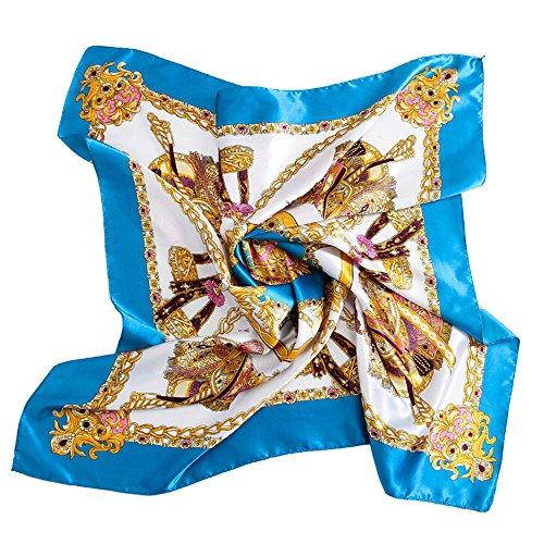 Bluelans® Damenschal Faux Seidenschal Seidentuch Blume Bandana Halstuch Kopftuch Schal 90 x 90 cm Bunte (Blau)