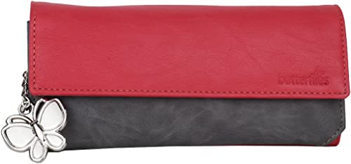 Butterflies Women Wallet (Red and Grey) (BNS 2110RD)