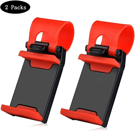 Car Mount,Car Steering Wheel Mount Holder For Most Phones, iPhone 7 6 6S 5 5S 5C SE,Samsung Galaxy,Note, and Tablet MP4 GPS (2 packs)- Red