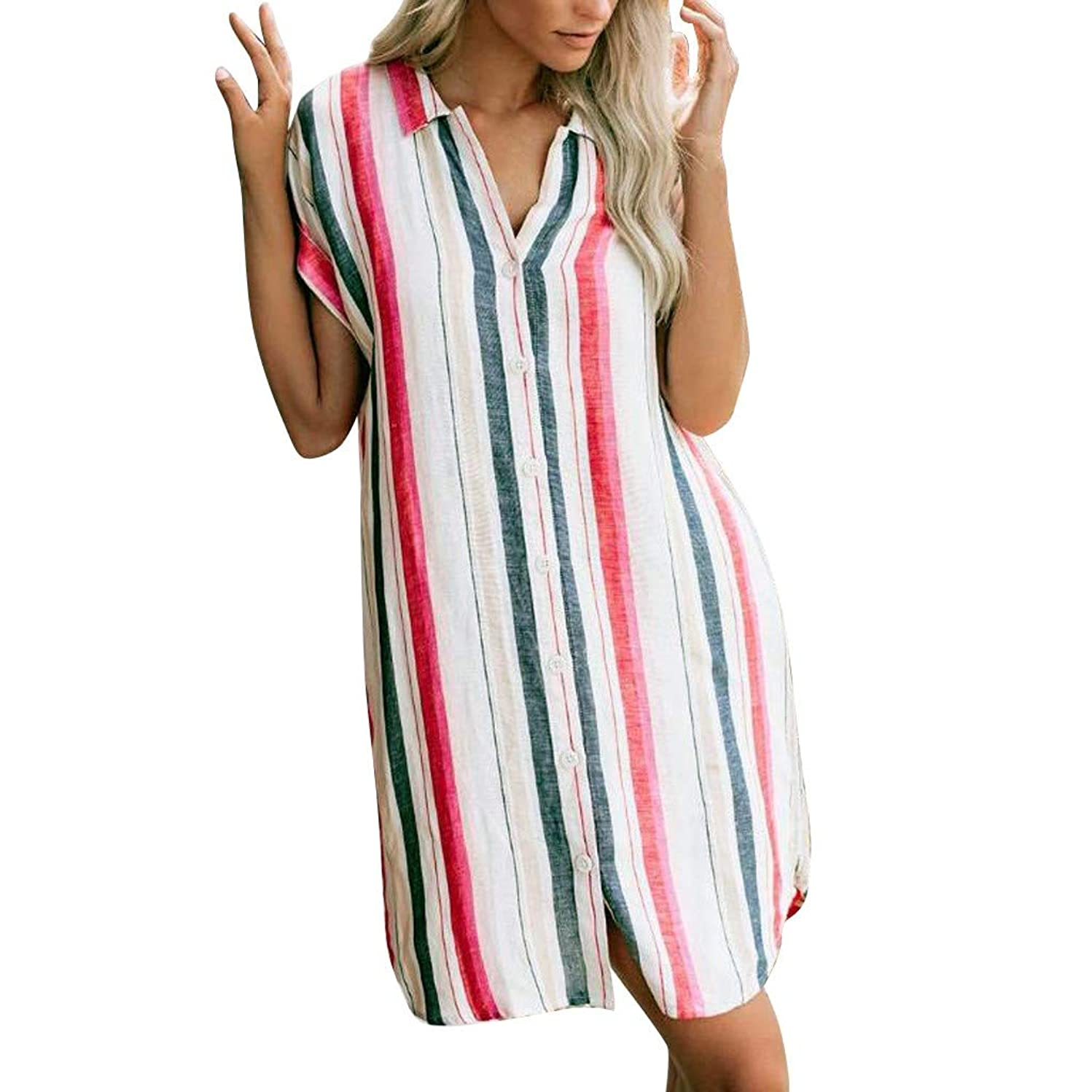 Women's Striped Short Sleeve T-Shirt Dress V Neck Button Down Swing Casual Tunic Tops Midi Dress