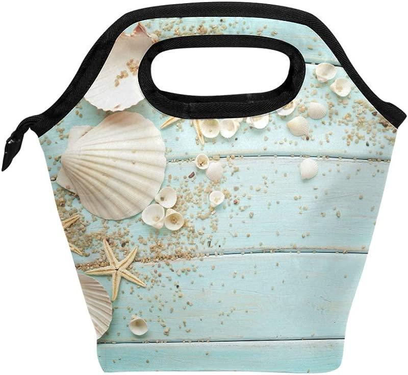 Naanle Ocean Beach Theme Insulated Zipper Lunch Bag Cooler Tote Bag For Adult Teen Men Women Ocean Starfish Lunch Boxes Lunchboxes Meal Prep Handbag