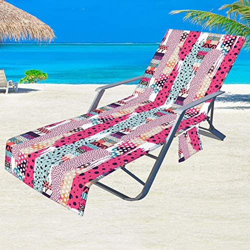 Holiday Beach Lounge Chair Cover Tela Verano Cool Cama Jardín Playa Toalla Tumbona Tumbona con Gran Bolsillo 210 73 cm