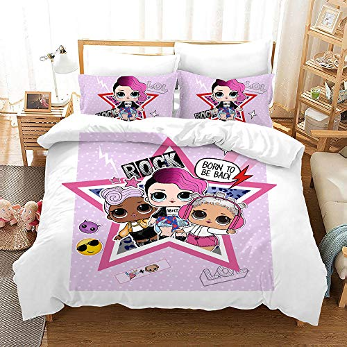Qingxsm Duvet Cover Set Double Bed 200x200 cm with 2 Pillowcases 50x75 cm Bedding set by Soft Microfiber with Zipper Lol Printing Duvet Cover set for Adult and children bed
