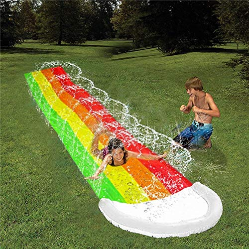 rosemaryrose Slip And Slide For Races With Heavy Duty Inflatable Crash Pad,Water Slide Thick Durable Racing Slip Slide Mat Inflatable Spray Water Toy For Kids Adults Outdoor Game