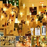 LED Foto Clip Lichterkette, 5M 50LED Fotolichterkette mit 50 Foto Clips und Fernbedienung, 8 Modi Foto Clip Lichter USB/Batteriebetrieben für Zimmer Deko, Hängende Bilder, Weihnachten