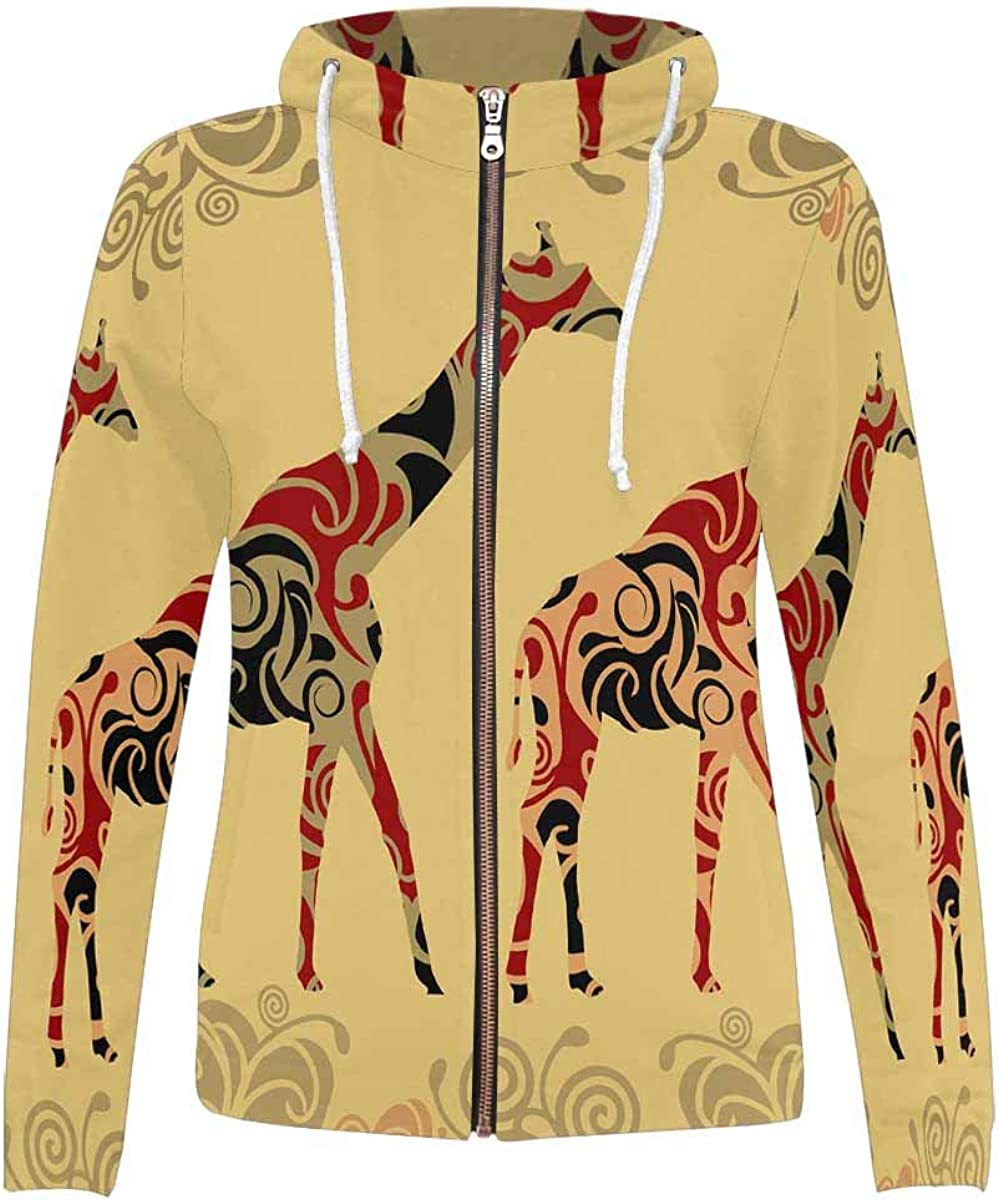 InterestPrint Casual All Over Print Hoodie Pocket OFFicial Very popular store Zip Full with