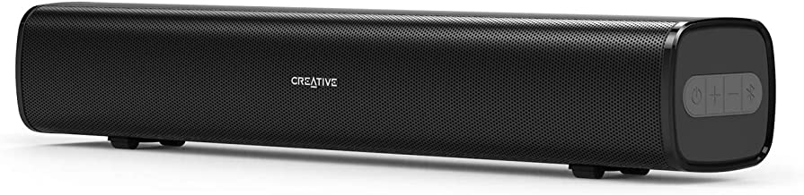 Creative Stage Air Portable and Compact Under-Monitor USB-Powered Soundbar for Computer, with Dual-Driver and Passive Radiator for Big Bass, Bluetooth and AUX-in, USB MP3, 6 Hours of Battery Life