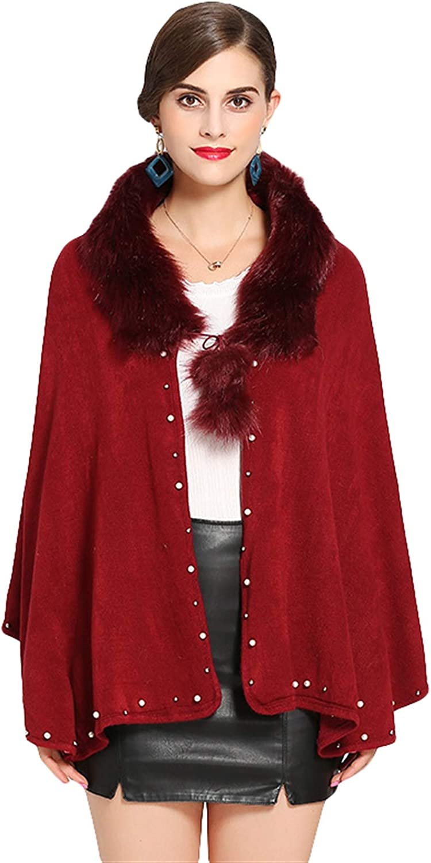 ICEGREY Winter Womens Faux Fur Cape Wrap Dedication Shawl Cardigan Same day shipping Poncho