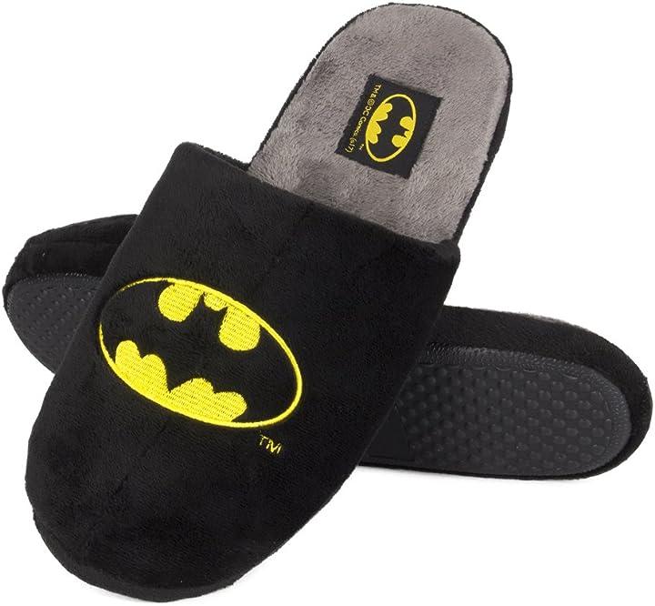 Pantofole batman  misura da 41 a 46 | peluche pelliccia suola antiscivolo soxo 93683A