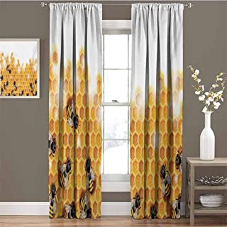 GUUVOR Nature All Season Insulation Sweet Honey Bees Wax Abstract Insect of Spring Season Artwork Image Noise Reduction Curtain Panel Living Room W42 x L63 Inch Apricot Marigold White