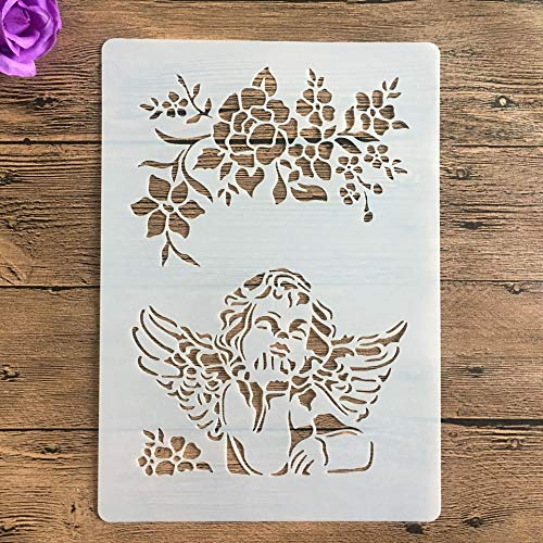 JINQIANSHANGMAO Plantillas 1 unids A4 29cm Stencil para Pintar Scrapbook Coloring Álbum de Relieve Plantilla Decorativa Plantillas