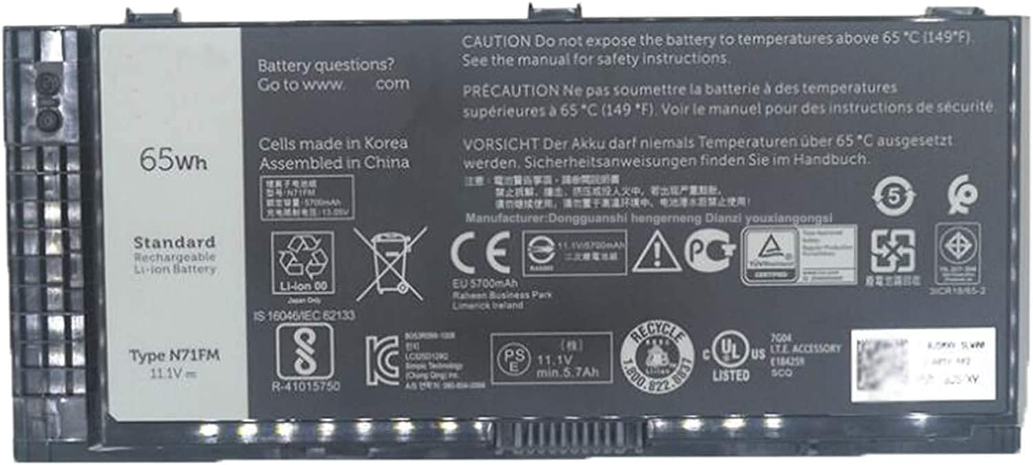 FV993 PG6RC R7PND T3NT1 N71FM Laptop Battery Replacement for Dell Precision M4600 M4700 M6600 M6700 M4800 M6800 Series(11.1V 65Wh)