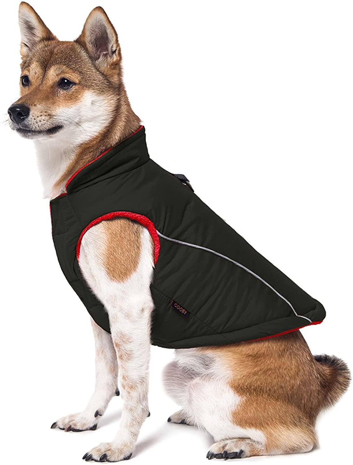 Gooby Cold Weather Fleece Lined Sports Dog Vest with Reflective Lining, XLarge, Black