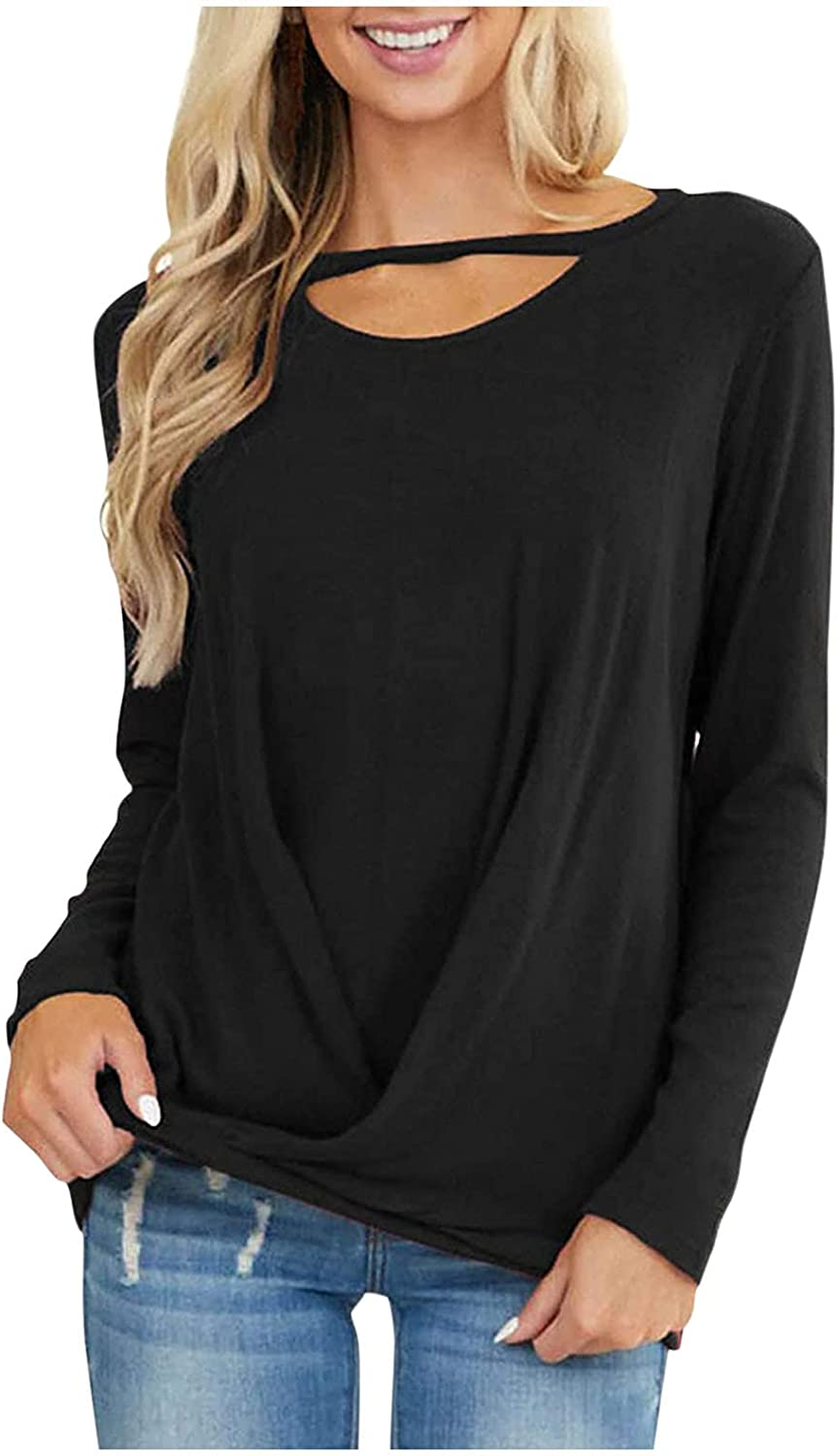 Women's Casual Shirts Long Sleeve O-Neck Solid Tunics Tops Loose Pullover Shirts Soft Street Tops Sweatshirts with Pocket