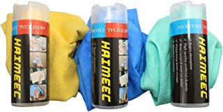 HAIMEEC Clean Tools Synthetic Drying Chamois Premium Cleaning Chamois Super Absorber Cloth for Car- Blue Yellow Green Tube...