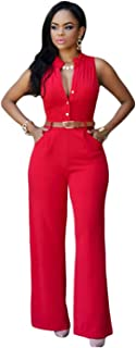 Women's Sexy Wide Leg Jumpsuits with Belt, Deep V Sleeveless Button Sexy Solid Color Romper