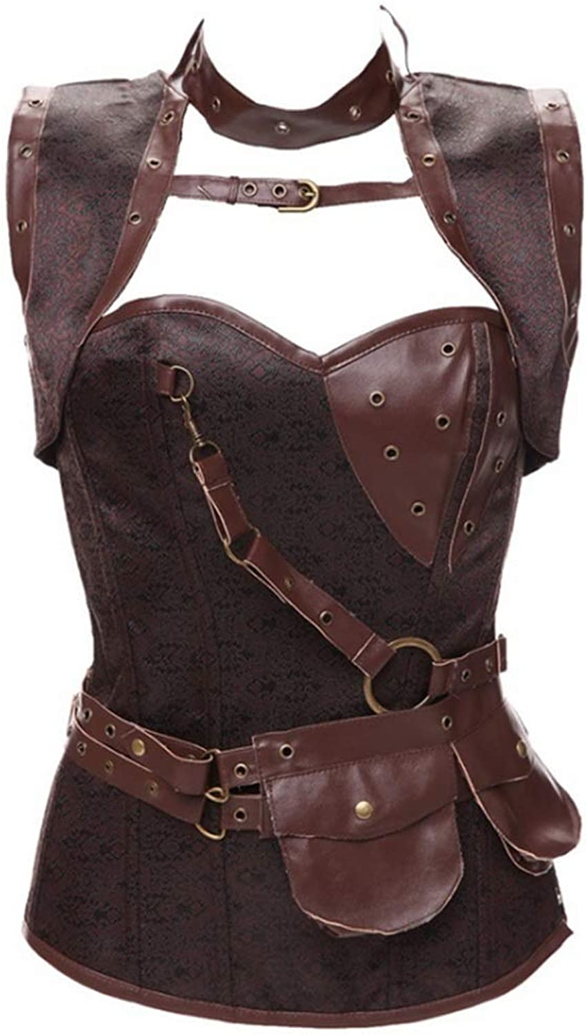 Waist Training Corset Women's Gothic Steampunk Steel Boned Waist Cincher Corset Vest Women Slimming Tummy Tank Top (color   Brown, Size   6XL)
