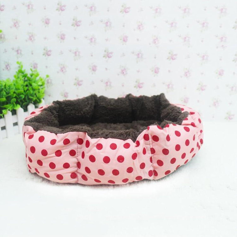 Gperw Pet Bolster Dog Bed Comfort Pet Nest Wave dot print short plush kennel cat nest, 40  30  11cm Non Slip Cushion Pad