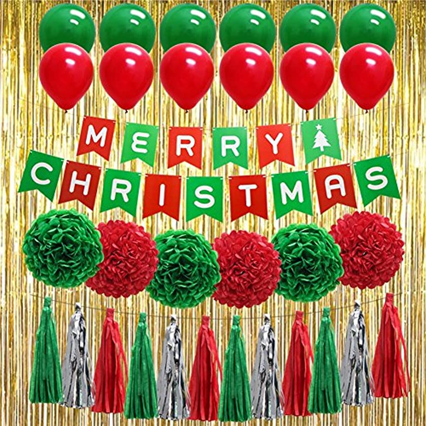"""Christmas Red Green Party Decorations, """"Merry Christmas"""" Banner Balloons Tissue Paper Pom Poms Tassel DIY Party Garland Gold Foil Fringe Curtains Photo Backdrop for Birthday Festival"""