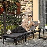 Sonnenliege Liegestuhl Gartenliege mit 5 cm Dicker Auflage Polyrattan Rückenlehne verstellbar - 3