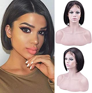 Usexy Short Black Human Hair 4X4 Lace Closure Bob Wigs for Black Women Brazilian Virgin Lace Front Bob Wig Pre Plucked Natural Hairline with Baby Hair Bleached Knots 8 Inch 150% Density
