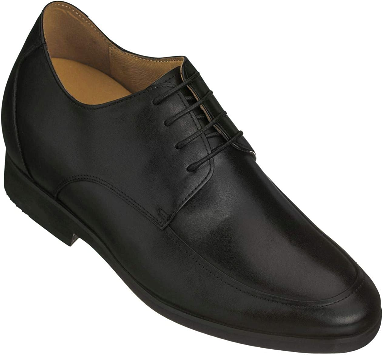 TOTO Men's Invisible Height Increasing Elevator Shoes - Premium Leather Lace-up Formal Oxfords - 3.4 Inches Taller