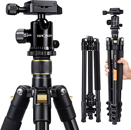 Lightweight Aluminum Camera Tripod, K&F Concept 62-Inch Compact Travel DSLR Tripod Portable Tripod with Ball Head and...