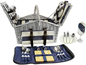 HappyPicnic 'Huntsman' Willow Picnic Hamper for 4 Persons with 'Built-in' Insulated Cooler, Wicker Picnic Basket with Canv...