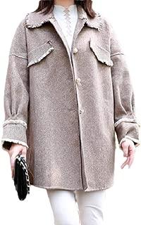 Howely Women's Coat Jacket Woolen Tassel 1950s Herringbone Parka Outwear