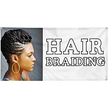 Vinyl Banner Multiple Sizes Hair Braiding A Outdoor Advertising Printing Business Outdoor Weatherproof Industrial Yard Signs 10 Grommets 60x144Inches