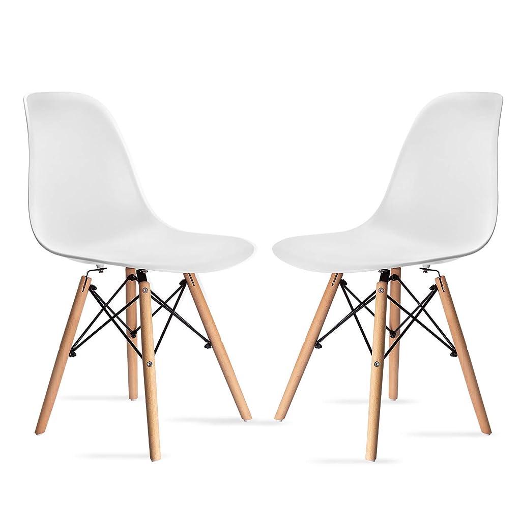 クランプ規則性側溝Probasto イームズシェルチェア イームズチェアー オシャレ ダイニングチェア シェルチェア イームズ 椅子 北欧 スチール脚 組立簡単 三色対応 2脚セット (ホワイト)