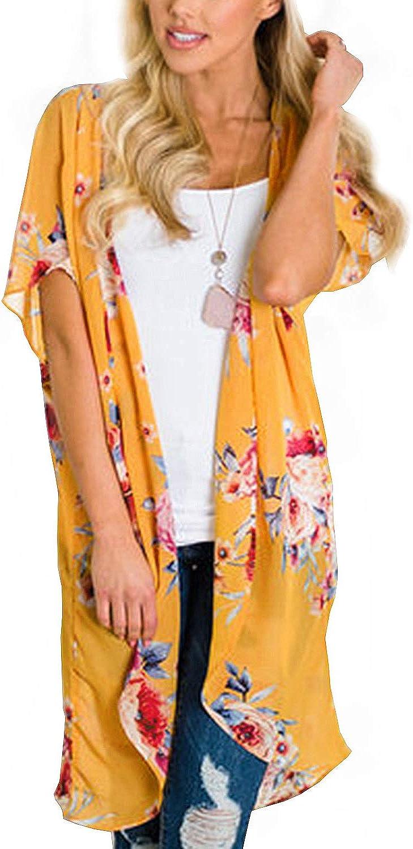 BB&KK Summer Floral Cardigan Kimonos Women's Open Front Cover Ups Wraps