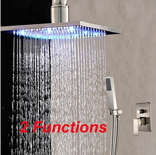 "GOWE LED Color Changing Nickel Brushed Rain Shower Head Hand Shower Sprayer Tap 16"""