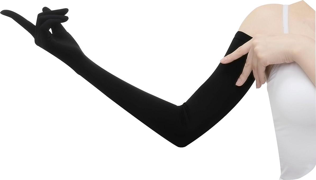 コインランドリーヘビーかろうじておたふく手袋 【UVカット率99.7% UPF50+】手腕ひんやり接触冷感繊維使用 ロングUV手袋 (着用時約67cm) UV-2711