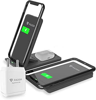 RAEGR 2-in-1 Arc 1100 10W+5W Wireless Charging Stand with AC Adapter with 2 Type-C Cables for iPhone 12/SE/11/X Series, 8/...