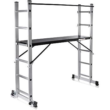 MAXCRAFT Plataforma de Trabajo Multipropósito Escalerilla Escalera Combinación de Aluminio y Andamio con Ruedas Peldaños Escala Plegable (5 posibilidades de Uso): Amazon.es: Bricolaje y herramientas